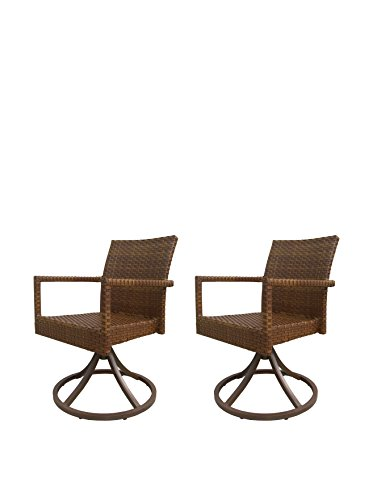 Panama Jack St Barths Set of 2 Swivel Dining Chairs, Brown