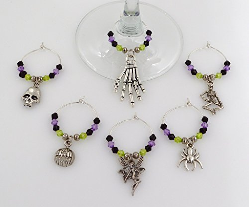 [Halloween Wine Glass Charms with Purple, Green and Black Beads - 6 Piece Cocktail Drink Charm Set in Black Velour Gift] (Halloween Costumes Poison Pixie)