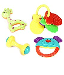 Little Grin Little Leaf Non Toxic Baby Toys Rattle Set Of 4 Pieces For Infants And Toddlers - Multi Color