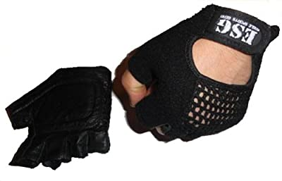Black Leather Mesh ESG Gym Weight Lifting Gloves -  from ESG