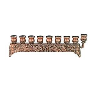 9x29 Centimeter Copper Hanukkah Menorah with Engravings
