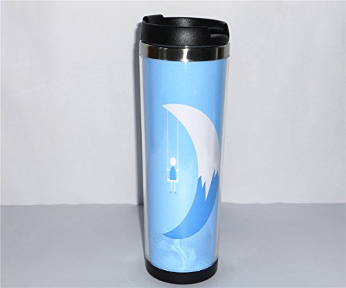 Yanbo New Diy Cup For Unisex Adults Swing In The Moon Pattern Blue Art Coffee Mug Tea Cup Travel Cup Drink Ware 18 Cm 420 Ml Best Gift
