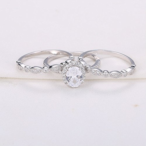 Newshe Jewellery 3pcs White CZ 925 Sterling Silver Wedding Ring Set Engagement Ring Sets Size 7