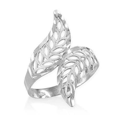 High-Polish-14k-White-Gold-Double-Leaf-Filigree-Cocktail-Ring