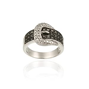 Sterling Silver Black Diamond Accent Belt Buckle Ring