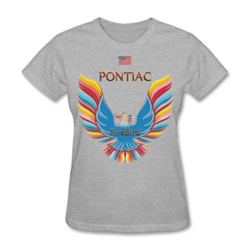 Women's Pontiac Firebird Retro Logo Colorful Style T-shirt With US Flag,Hip-pop tee,097 (Gray, Medium) (Pontiac Firebird Calendar compare prices)