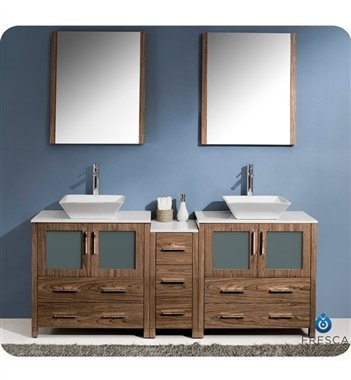"Torino 72"" Modern Double Sink Bathroom Vanity Set With Side Cabinet And Vessel Sinks front-207528"
