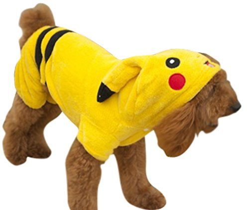 Dogs Pet Fleece Pikachu Costume Hoodie Coat Yellow L