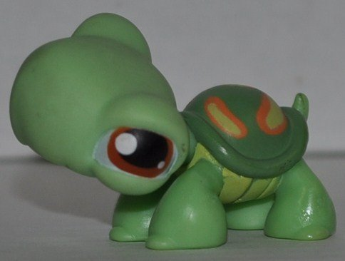 Turtle #119 (Green, Brown Eyes, Green Shell, Marks) Littlest Pet Shop (Retired) Collector Toy - LPS Collectible Replacement Single Figure - Loose (OOP Out of Package & Print) - 1