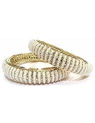 Shingar Jewellery Gold Plated Moti Zircon Kada Bangles Set In 2.8 Size For Women