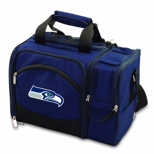 Nfl Seattle Seahawks Malibu Insulated Shoulder Pack With Deluxe Picnic Service For Two front-608250
