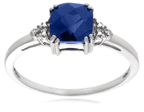 10k White Gold, September Birthstone, Created Ceylon Sapphire and Diamond Ring, Size 6