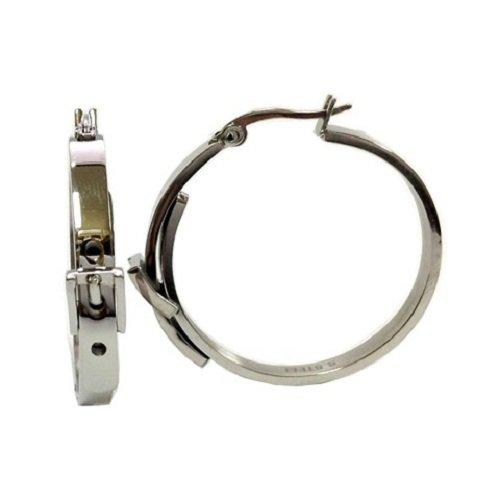 Amythyst Women'S Stainless Steel Silver Tone Belt Buckle Hoop Earrings