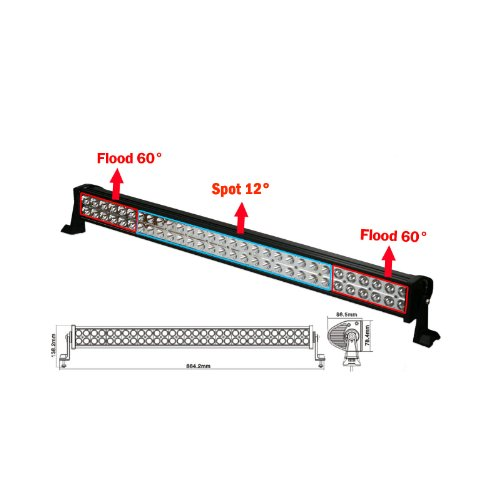 Ac Auto 32 Inch 180W Spot Beam Led Light Bar Off Road Driving Hunting Work Light 60X3W