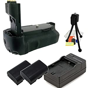 Battery Grip for the EOS 7D Digital SLR Camera (Replaces BG-E7) Includes 2 LP-E6 Replacement Batteries, Battery Charger & Starter Kit