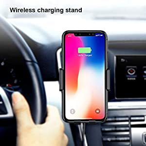 Wireless Car Charger Mount 10W Wireless QC3.0 Charger with Auto-Clamping and Smart Touch Compatible iPhone Xs/Xs Max/XR/X/ 8/8 Plus, Samsung Galaxy S1