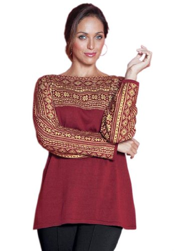 Jessica London Plus Size Fair Isle Sweater Dark Red Combo,30/32