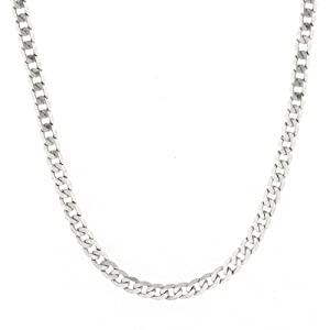 Men's 14k White Gold 3.85mm Cuban Chain Necklace, 20