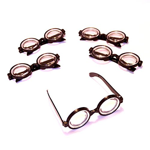 Dazzling Toys Plastic Black Frame Nerd Glasses - Pack of 12 - Costume Party Favors