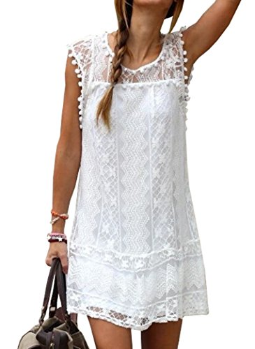 Voinnia Women's O Neck Crochet Hollow Lace Mini T-shirt Dress