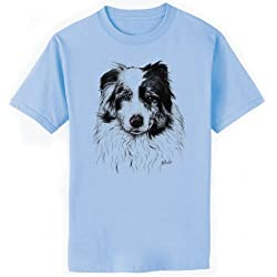 Australian Shepherd Dog Art T-Shirt, Youth XS, Light Blue