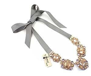 WIIPU light purple rhinestone with ribbon necklace, statement Necklace,bubble Bib Necklace(wiipu-B118)