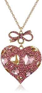 "Betsey Johnson ""Iconic Pinkalicious"" Crystal Heart Pendant Long Necklace, 35"""