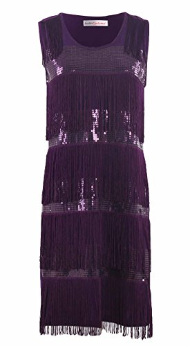 JustinCostume Women's Sequined Swing Tassels Latin Dance Dress Party Costumes