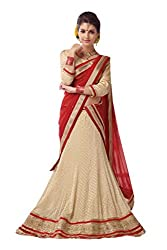 Ishin Net Chiffon Party Wear Embellished Beige & Red Lehenga