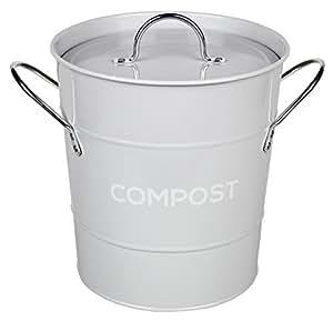 light grey metal kitchen compost caddy composting bin. Black Bedroom Furniture Sets. Home Design Ideas