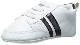Luvable Friends Basic Stripe Casual Sneaker (Infant), Blue, 12-18 Months M US Infant