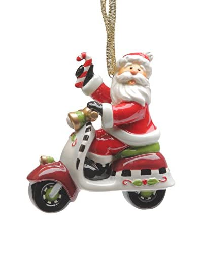 Cosmos Santa Riding Scooter Ornament