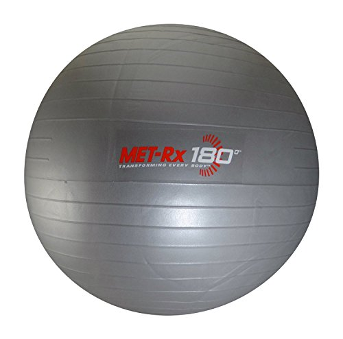 Met Rx 180 Grey Fitness Exercise Ball with Pump - Transforming Every Body - 45.72 CM (18