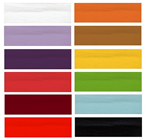 Team Hydrate 12 Fashion Cotton Headbands - Stretch Elastic - Yoga Woman Sports Accessories - Girl and Teens (Mulit-Color)