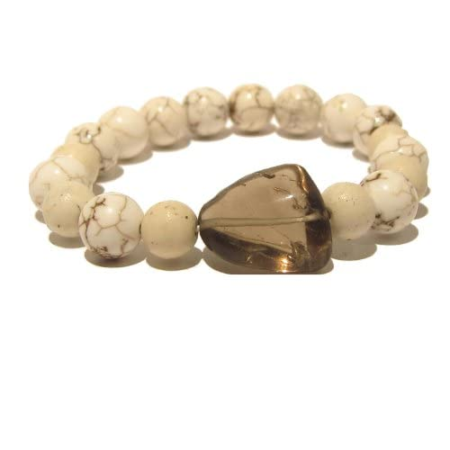 Magnesite Bracelet 07 Chunky Stretch Brown Smoky Quartz White Bead Stone (Gift Box)