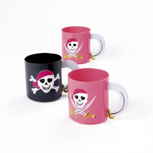 Plastic Pink Pirate Girl Mugs (1 Dz)