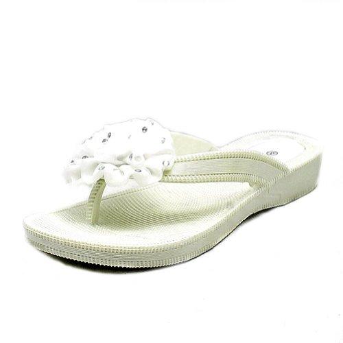 Pear White rubber beaded rosette front flip flops sandals