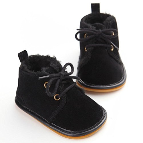 DZT1968® Baby Girl Boy Anti Slip Sole Thick Snow Boots Shoes Sneaker (12~18 Months, Black)