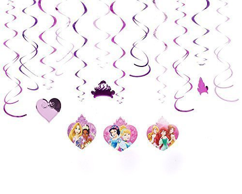 Diseny Princess Party Foil Hanging Swirl Decorations / Spiral Ornaments (12 PCS)- Party Supply, Party Decorations