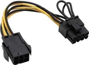 Mainboard Strom Adapter PCI-Express 6pol auf 8pol Netzteil Stecker Grafikkarte PCI-Express Ansch
