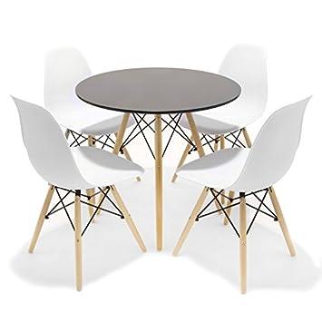 Conjunto de comedor / cocina Inspirado en el diseño Tower Eames - Redondo - Mesa negra Sillas Blancas