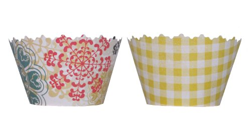 Reversible Circus Fireworks & Yellow Picnic Cupcake Wrappers - Set of 12 - Fun Cup Cake Supplies