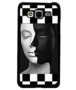 PRINTVISA White-Black Face Premium Metallic Insert Back Case Cover for Samsung Galaxy Grand Prime - G530F - D5815