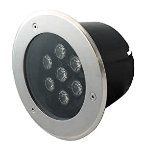 Spot encastr ou enterr, spot rond en inox 3x1W IP220v Hipow