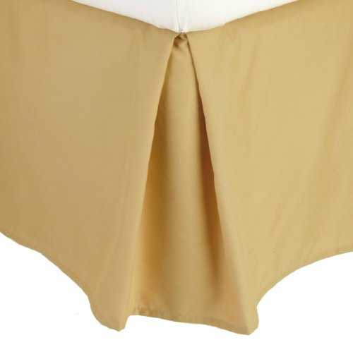 Clara Clark ® Premier 1800 Collection Solid Bed Skirt Dust Ruffle, Full (Double) Size, Camel Gold front-986698