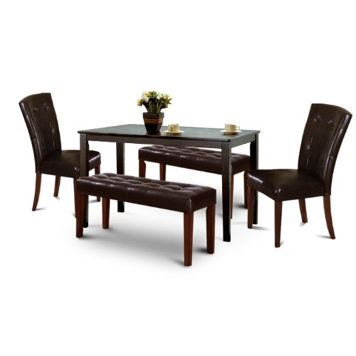 black friday wood espresso kitchen dining table set 2