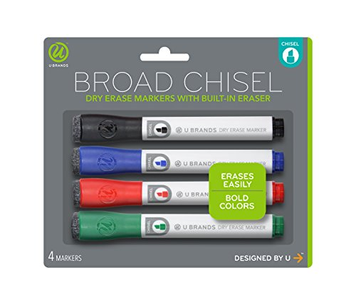 U Brands Low Odor Dry Erase Markers With Erasers, Chisel Tip, Assorted Classic Colors, 4-Count - 1