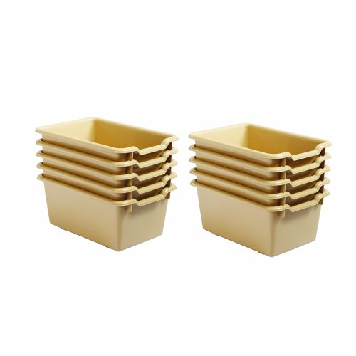 ECR4Kids Scoop Front Storage Bins, Sand, 10-Pack
