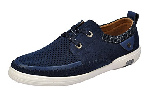 T&Mates Cyber Monday Men's Suede Casual 2-Eyes Lace Up Buttons Low-top Fashion Sneakers(8 D(M)US, Navy blue)