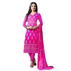 Ethnic Bliss Lifestyles Women Georgette Dress Material (Ebldgs-15A _Dark Pink _Xx-Large)